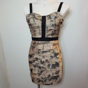 NWOT BEBE Lucca Abstract Strips Bodycon S